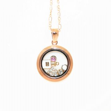 34mm living memory floating charm locket - champagne gold